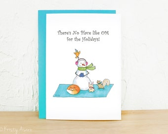 Yoga Holiday Card, Meditation, Snowman,