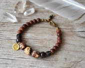 Unisex Om and Buddha bracelet - om yoga jewelry - mens yoga bracelet - unisex yoga jewelry