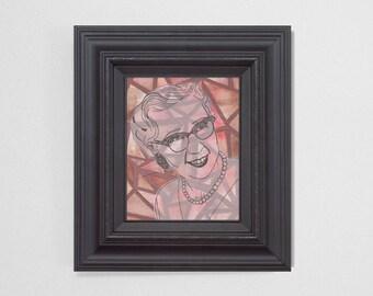 "8x10"" Original Fine Art Painting. ""Ghosts"" Series (3/6) : ""Flossie"" Mixed Media."