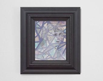 "8x10"" Original Fine Art Painting. ""Ghosts"" Series (6/6) : ""Margaret"" Mixed Media."