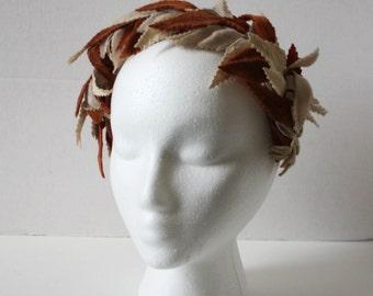 Vintage Head Band Crown Hat Leaves Brown Tan