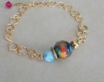 Larimar and Basha Bead Celebration Series 14k Gold Filled Handmade Chain Bracelet
