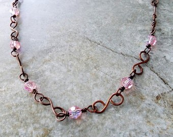 Necklace Rustic Handmade Copper and Pale Pink AB Swarovski Crystal Chain