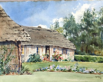 Country cottage watercolour, Antique painting, Summer garden art, Flower garden, English country garden, Summer landscape painting
