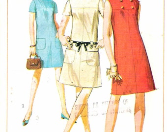 Vintage 1967 Simplicity 7160 Mod Dress Sewing Pattern Size 13 Bust 33""