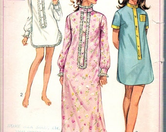"""Vintage 1968 Simplicity 7912 Misses Sleep-Shirt in Two Lengths Sewing Pattern Size Small 8 -10 Bust 31 1/2"""" - 32"""""""