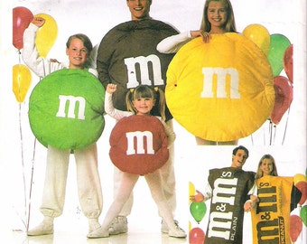 """Vintage 1996 Simplicity 8290 M & M's Plain Chocolate and Peanut Candies Costumes Sewing Pattern Size A S,M,L Chest/Bust 22"""" - 42"""""""