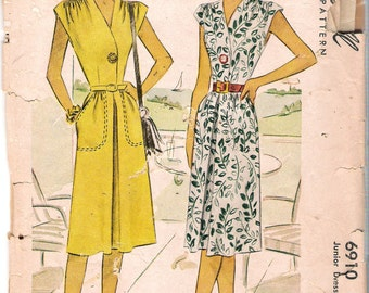 Vintage 1947 McCall 6910 Junior Dress Sewing Pattern Size 15 Bust 33""