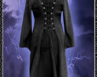 Vampire Queen Gothic Coat, Black Polar Fleece, Corset Lacing, Full Length,