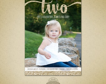 Two Year Old Birthday - Gold Glitter Second Birthday Invitation - Girl Birthday - Big Two - Gold Birthday Printable Photo Invite - 2 years