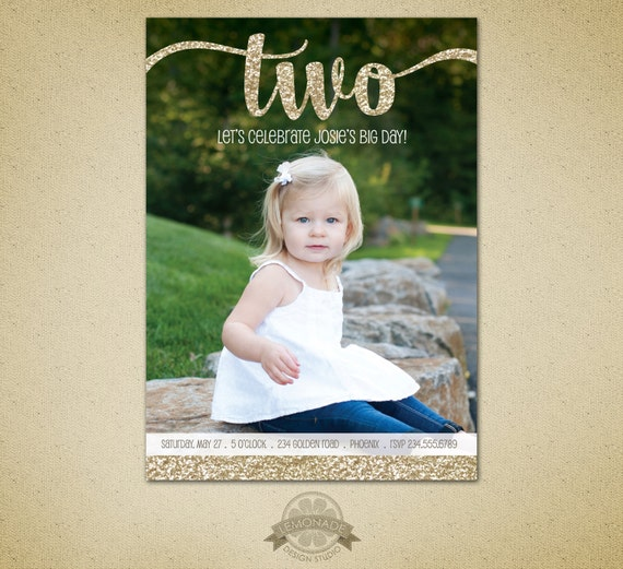 Two Year Old Birthday Gold Glitter Second Birthday Invitation