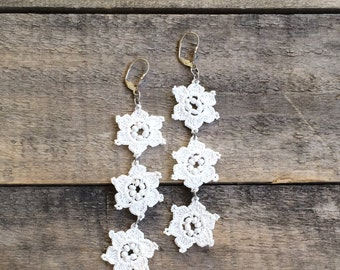 Bridal Boho Dangle Earrings, Crochet Flower Earrings, Wedding Beaded Earrings, Beaded Jewelry, Beadwork Crochet Jewelry, ReddApple