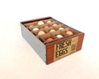 Vintage Egg Carton, Egg Crate, Egg Carrier, Vintage Egg Display, Fresh Eggs, One Dozen Eggs, Farmhouse Egg Display,
