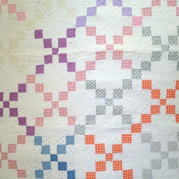 Quilt multicolor irish chain quilt handstitched quilt single irish