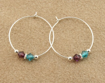 "Sterling Silver Mothers Earrings with 2 Swarovski Birthstone Crystals, 1"" (25mm) Wire Hoop Earrings,your choice of Crystal Birthstone colors"