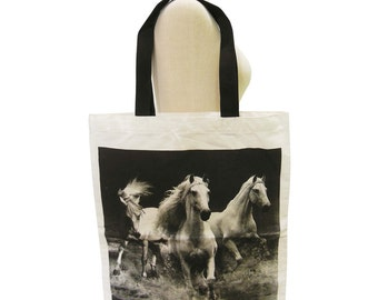 Hores Bag Horse Animal Tote Bag Screen Print Handmade