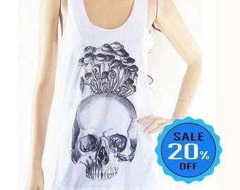 size S - Skull Mushrooms Halloween skeleton zomebie tank top funny tees tumblr tank blogger tee women t-shirt skull shirt screen print