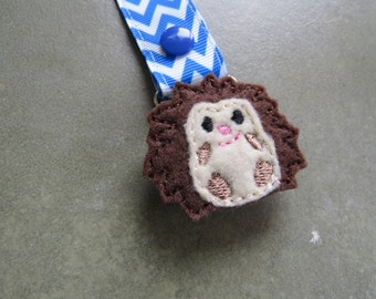 Pacifier Leash Paci Clip - Hedgehog Feltie Metal Pacifier Clip