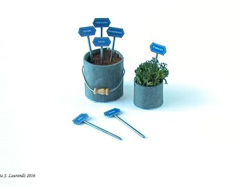 Dollhouse Herb Tags - 'Blue Enamel & Zinc'  - 7 different herbs - 12th Scale miniature - ENGLISH TEXT (GA12)