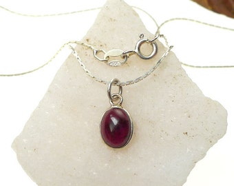 Sterling Silver Garnet Necklace, Small Red Garnet Charm Jewelry, Capricorn & Leo Birthstone, Layering Necklace
