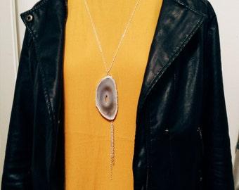 Lavender Hued Geode Slice Y Necklace