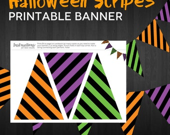 Party Printable Banner - Stripes Halloween Pennant Bunting Banner PURPLE GREEN ORANGE - Instant Download