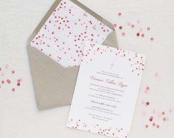 Confetti First Holy Communion Invitation | Baptism Christening or Dedication | Confirmation | Pink and Coral | Printed or Digital File DIY