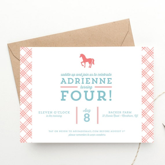 Pony Party Childrens Birthday Invitation Free Shipping Horse