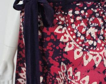 Vintage 70's Boho Batik Wrap Skirt