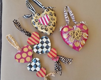 Valentine Heart Gift or Decor, Hand Painted Hearts Set of 4 Paper Mache and Wood Valentine Hearts, Leopard Hearts, Check Hearts