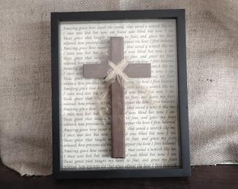 decorative cross wall decor, Christian home, amazing grace, faith, Religious home, wall cross, crucifix, wood cross, gift for home