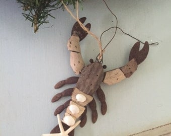 Beach Decor Driftwood & Shell Lobster Ornament - Christmas Ornament - Lobster Ornament - Coastal Home Decor - Coastal Christmas