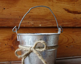 Wedding Bucket -  Flower Girl Pail - Wedding Basket - Flower Girl Bucket - Rustic Wedding Basket - Wedding Pail - Rustic Home Decor