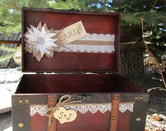 Personalized Card Box -  Wedding Trunk- Wedding Trunk Card Holder - Rustic Wedding Card Holder - Wedding Suitcase - Card Box -Gift Table