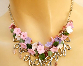 Pastel Necklace Flower Necklace Minimal Jewelry Romantic Necklace Sakura Cherry Blossom Forget Me Not Gift For Her Wedding Jewelry