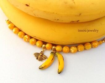 Charm Bracelet, Women Bracelet, Yellow Bracelet, Beaded Bracelet, Fruit Bracelet, Banana Jewelry, Statement Bracelet, Bee Bracelet, Handmade