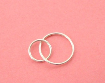 10 Pieces, Two Circle Chain Segment / Links, Sterling Silver .925, 15x23mm, 18 gauge, SL123
