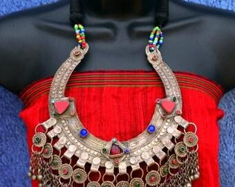 Banjara, Kuchi, belly dancing jewelry, boho, Afghani pendant, statement necklace, large, colourful handmade necklace, UK listing Wild Child