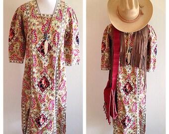 Vintage Indian Cotton Boho Hippie Festival Dress