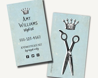 250 prfessional queen princess king business cards printed 250 salon business cards printed hair stylist calling card blue scissors crown colourmoves Images
