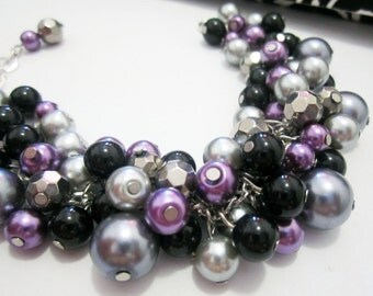 Plum Bridesmaid Bracelet, Purple and Gray Cluster Bracelet, Chunky Bracelet, Plum Pearl Bracelet, Plum, Silver, Grey and Black