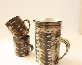 Mid Century Briglin Studio Pottery Cups and Jug