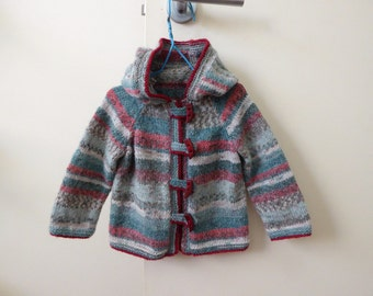 Hand knitted baby's hooded jacket | red and green sweater with toggle fastenings & fairisle stripes | fit girl or boy to 10 months