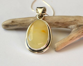 Natural Baltic Amber Pendant Amber and Sterling Silver Pendant Unique Amber Pendant