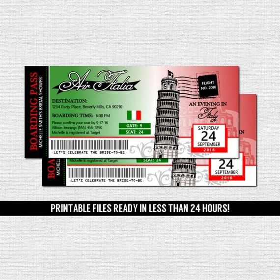 italy boarding pass invitations italian airline ticket