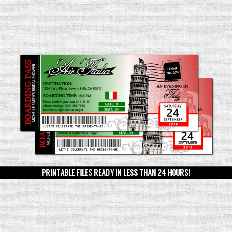 Airplane Ticket Boarding Pass Birthday Invitation: ITALY BOARDING PASS Invitations Italian Airline Ticket