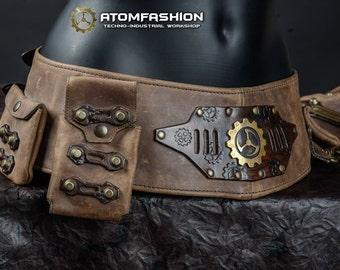 Arcanum woman leather steampunk utility belt with bag and pockets