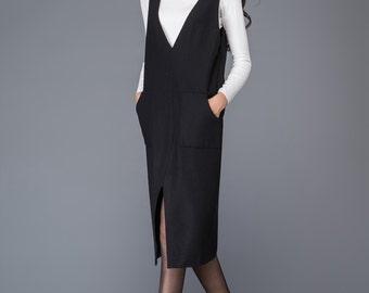 Black wool dress, strap dress, big V neck dress, winter dress, split dress, midi dress, women dresses, maxi dress, sleeveless dress C1009