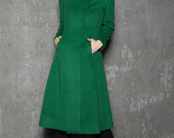 Emerald green coat, wool coat, asymmetrical coat, long coat women, warm coats, winter coat, handmade tailored coat, womens outerwear C713
