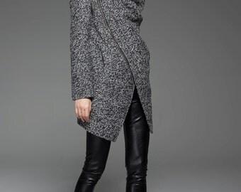 womens jackets, winter coat, womens jacket, coat, gray winter coat, black coat, Asymmetrical coat, coats, jackets, wool coat C745